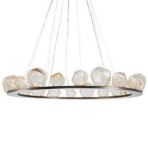 Gem Satin Nickel 62-Inch 24-Light LED Chandelier with Smoke Blown Glass Gem