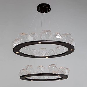 Gem Metallic Beige Silver 48-Inch 36-Light LED Chandelier with Clear Blown Glass Gem