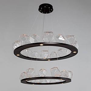Gem Metallic Beige Silver 48-Inch 36-Light LED Chandelier with Smoke Blown Glass Gem