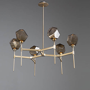 Gem Metallic Beige Silver 38-Inch Six-Light LED Chandelier with Bronze Blown Glass Gem