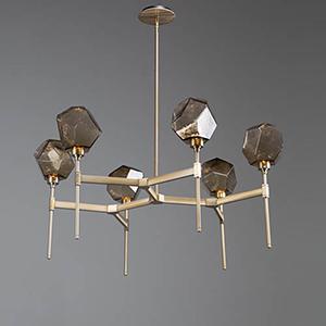 Gem Flat Bronze 38-Inch Six-Light LED Chandelier with Smoke Blown Glass Gem