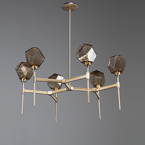 Gem Heritage Brass 38-Inch Six-Light LED Chandelier with Clear Blown Glass Gem