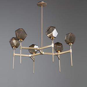 Gem Heritage Brass 38-Inch Six-Light LED Chandelier with Smoke Blown Glass Gem