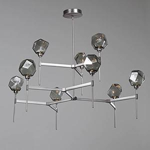 Gem Heritage Brass 55-Inch Nine-Light LED Chandelier with Smoke Blown Glass Gem