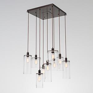Apothecary Matte Black 29-Inch Nine-Light Pendant with Smoke Blown Glass