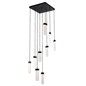 Parallel Matte Black 26-Inch Nine-Light LED Pendant with Clear Granite Glass