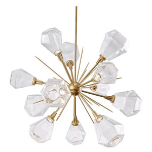 Hedra Heritage Brass 38-Inch 12-Light LED Chandelier with Smoke Optic Rib Blown Glass