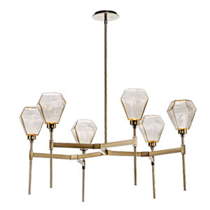 Hedra Flat Bronze 38-Inch Six-Light LED Chandelier with Smoke Chilled Blown Glass