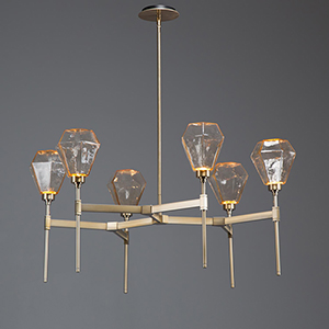 Hedra Oil Rubbed Bronze 38-Inch Six-Light LED Chandelier with Bronze Optic Rib Blown Glass