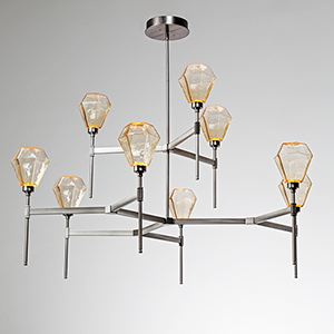 Hedra Flat Bronze 55-Inch Nine-Light LED Chandelier with Clear Optic Twist Blown Glass