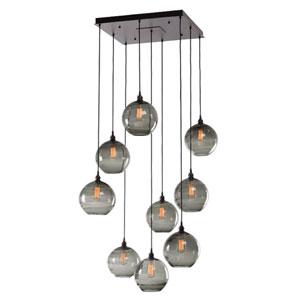 Terra Matte Black 30-Inch Nine-Light Pendant with Bronze Optic Blown Glass
