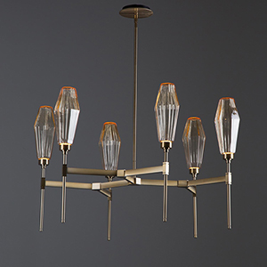Aalto Flat Bronze 36-Inch Six-Light LED Chandelier with Amber Optic Rib Blown Glass