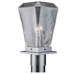 Outdoor Argento Grey Six-Inch One-Light Post Mount with Clear Blown Glass