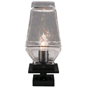 Outdoor Textured Black Six-Inch One-Light Pier Mount with Clear Blown Glass