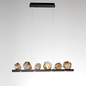 Gem Metallic Beige Silver 44-Inch 10-Light LED Linear Pendant with Smoke Blown Glass Gem