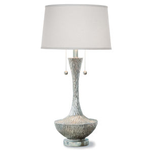 Embossed Ambered Silver Two-Light Table Lamp