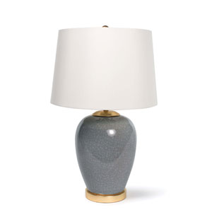 Modern Glamour Gold Leaf and Ceramic One-Light Table Lamp