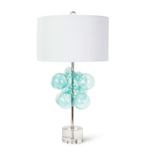 Bubbles Polished Nickel And Aqua One-Light 17-Inch Table Lamp