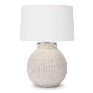 Hobi White One-Light Table Lamp