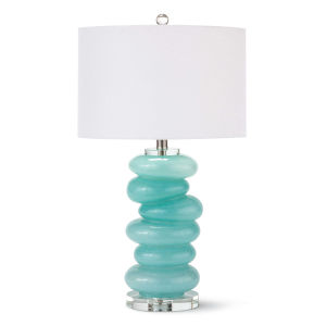 Stacked Aqua One-Light Table Lamp