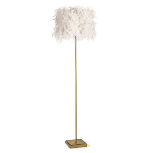 Jasmine White and Natural Brass One-Light Floor Lamp