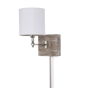 East End Polished Nickel and Barn Wood Six-Inch One-Light Wall Sconce