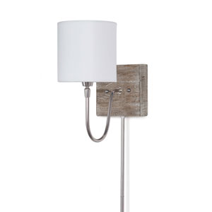 East End Bent Arm Polished Nickel and Barn Wood Six-Inch One-Light Wall Sconce