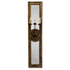 New South Distressed Painted 12-Inch Three-Light Wall Sconce