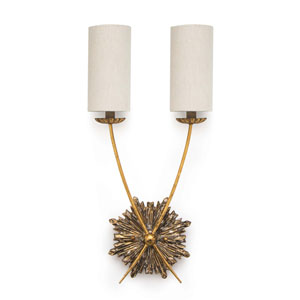 New South Antique Gold Two-Light Wall Sconce