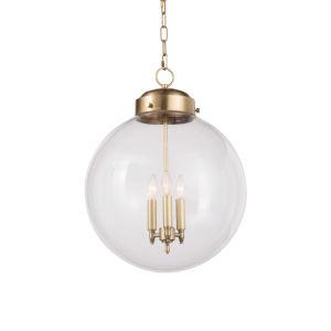 Globe Natural Brass Three-Light Pendant