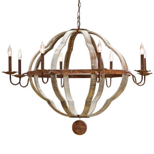 Quatrefoil Rust Tone Eight-Light Chandelier