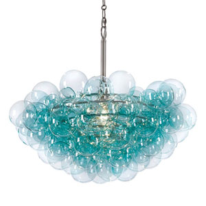 Modern Glamour Brushed Nickel and Aqua One-Light Pendant