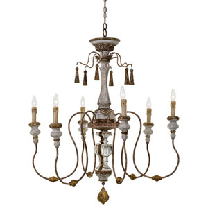 New South Gold 37-Inch Six-Light Chandelier
