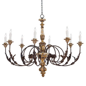 New South Blackened Steel Eight-Light Chandelier