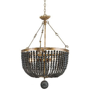 New South Black Three-Light Chandelier