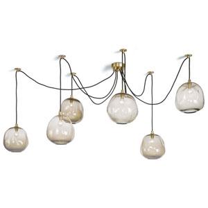 LA Modern Brass 103-Inch Six-Light Pendant