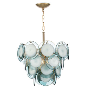 Modern Glamour Natural Brass and Aqua Four-Light Chandelier