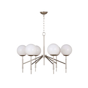 Modern Glamour Polished Nickel 32-Inch Six-Light Chandelier