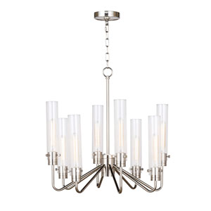 Modern Glamour Polished Nickel Eight-Light Chandelier