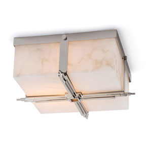 Modern Glamour Gloss and Polished Nickel Two-Light Flush Mount