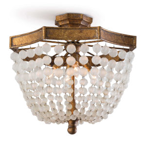 Frosted Antique Gold Four-Light Flush Mount