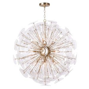Poppy Natural Brass 12-Light Chandelier