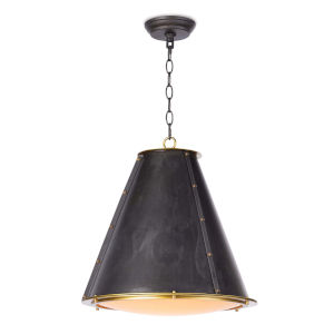 French Maid Blackened Brass One-Light Chandelier