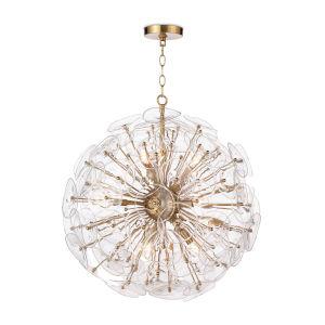 Poppy Natural Brass Nine-Light Chandelier