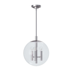 Cafe Polished Nickel Three-Light 12-Inch Pendant