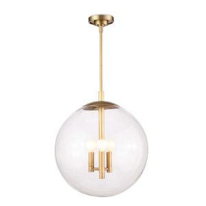 Cafe Natural Brass Three-Light 17-Inch Pendant