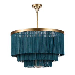 Cabaret Blue and Natural Brass Three-Light Chandelier