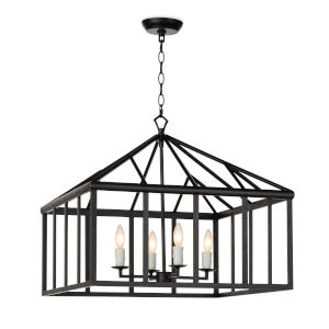 Verdant Blackened Iron Four-Light Chandelier