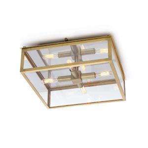 Ritz Natural Brass Four-Light Flush Mount