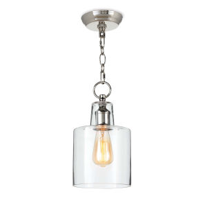 Dutch Clear and Polished Nickel One-Light Mini Pendant